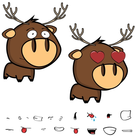 inlove little cartoon deer big head set in vector format expressions