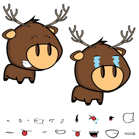 crying little cartoon deer big head set in vector format expressions
