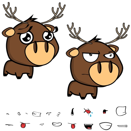 sweet little cartoon deer big head set in vector format expressions