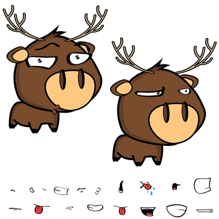 funny little cartoon deer big head set in vector format expressions Illustration