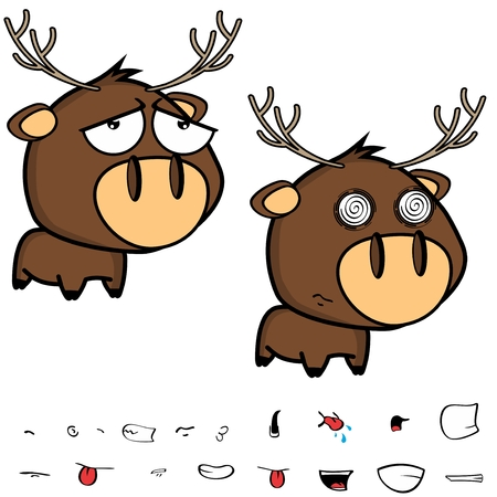 sad little cartoon deer big head set in vector format expressions Illustration