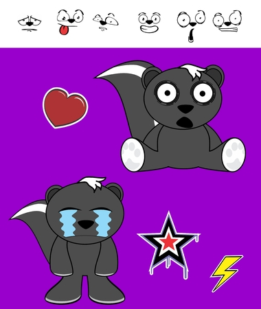 pouty: cartoon skunk crying expressions in vector format in September very easy to edit