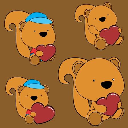 lovely cartoon baby squirrel heart Set in vector fomat