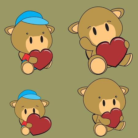 lovely baby camel cartoon heart Set in vector fomat Illustration