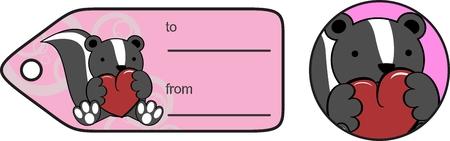 pegatina de corazón de bebé adorable mofeta de dibujos animados copyspace en fomat vector