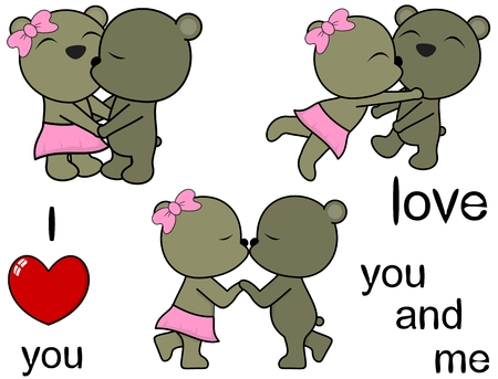 lovely cartoon cute teddy bear in vector format Love Set Ilustrace