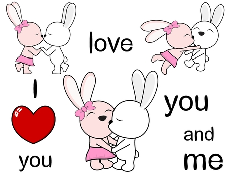 lovely cute bunny cartoon in vector format kissing Love Set