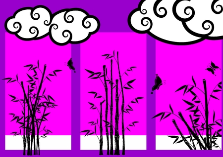 asian japanese bamboo background in vector format very easy to edit