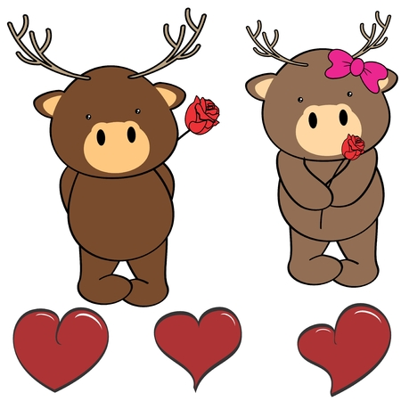 Cute cartoon deer love heart in vector format in September