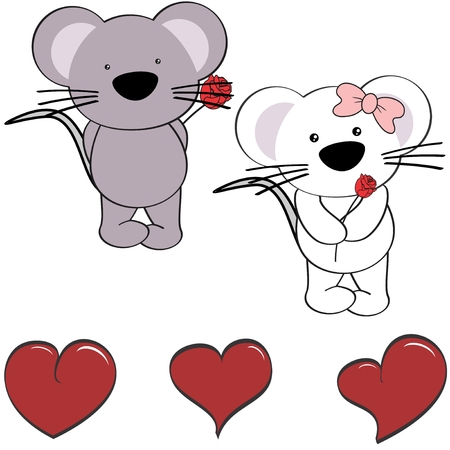 Cute love heart cartoon mouse in vector format in September