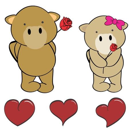 Cute cartoon camel love heart in vector format in September