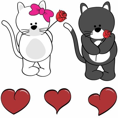 Cute cartoon cat love heart in vector format in September Illustration