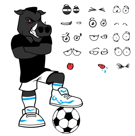wild boar soccer cartoon in vector format expressions in September Ilustração