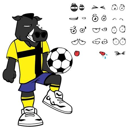Wild boar soccer cartoon in vector format expressions in September.
