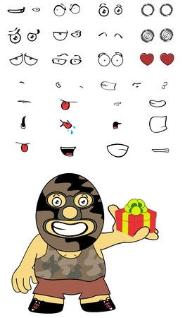 funny cartoon mexican wrestler expressions Set in vectro format very easy to edit Illustration