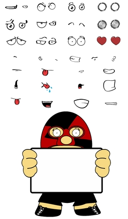 vectro: funny cartoon mexican wrestler expressions Set in vectro format very easy to edit Illustration