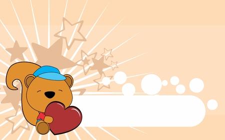 cute baby squirrel valentine heart cartoon background in vector hug format