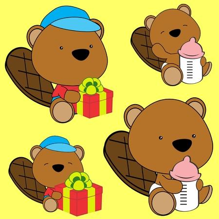beaver: sweet lovely baby beaver cartoon in vector format diaper September