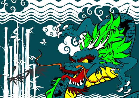 clouds: Asian dragon clouds bamboo background in vector format. Illustration