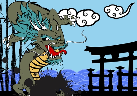 clouds: asian dragon clouds baboo background in vector format