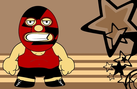 Grumpy mexican fighter cartoon expression background in vector format
