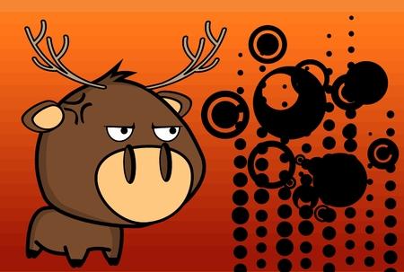 Grumpy little big head deer expressions in vector format very easy to edit