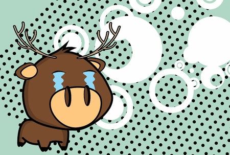 Crying little big head deer expressions in vector format very easy to edit Illustration