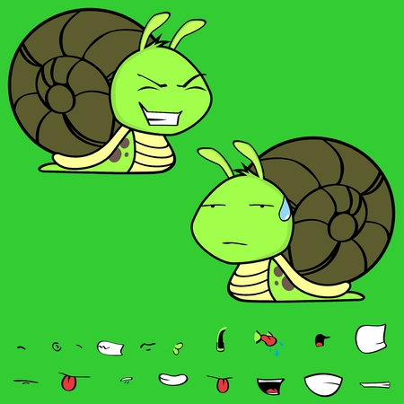 Funny little snail cartoon expressions in vector format very easy to edit