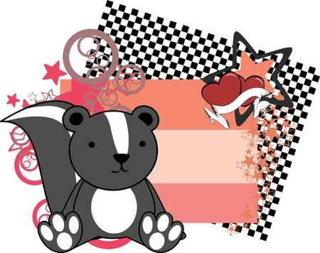 sweet baby skunk cartoon copyspace in vector format