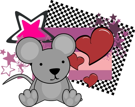 sweet baby mouse cartoon copyspace in vector format Illustration