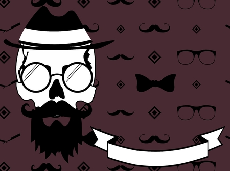 vectro: Hipster style skull fashion background in vectro format very easy to edit
