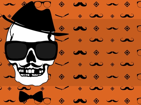 Hipster style skull fashion background in vectro format very easy to edit