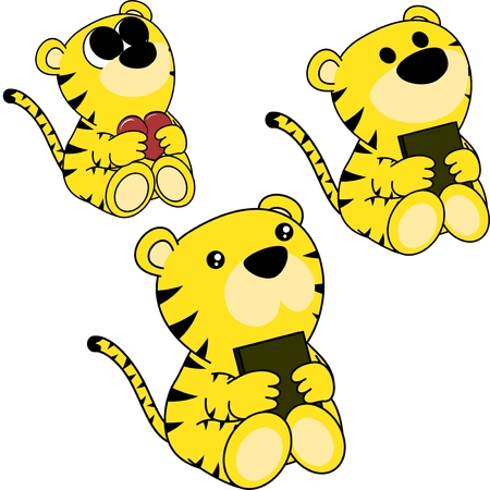 Sweet little baby tiger cartoon set in vector format very easy to edit