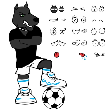 Sporty dog ??soccer cartoon set expressions in vector format very easy to edit