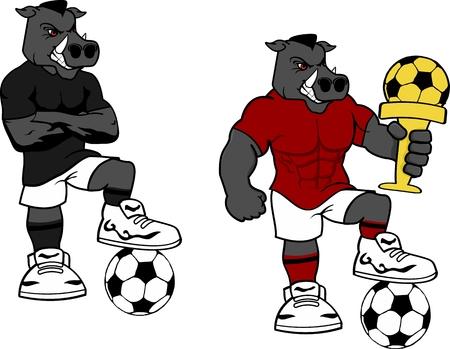 Soccer wild roar cartoon set in vector format very easy to edit
