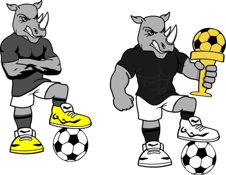 Soccer football rhino cartoon set in vector format very easy to edit