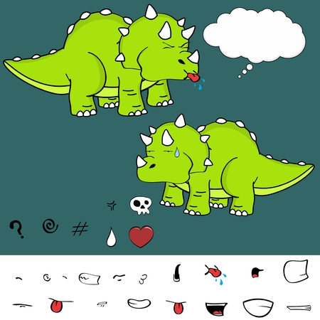 Sweet baby triceratops cartoon expressions set in vector format
