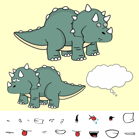 triceratops: Sweet baby triceratops cartoon expressions set in vector format