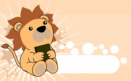 Cute little baby lion cartoon in vector format very easy to edit