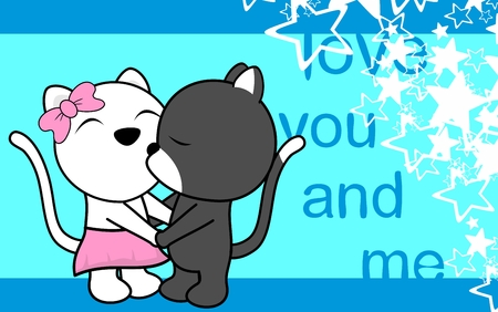 Cute baby boy and girl cat cartoon background in vector format very easy to edit 일러스트