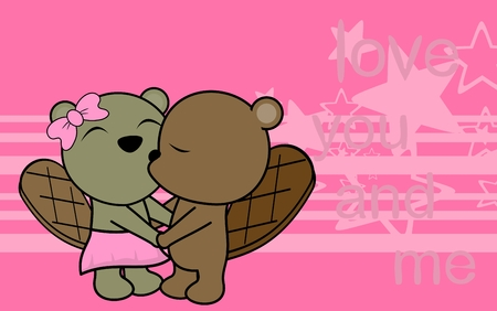 Cute love baby boy and girl beaver cartoon background in vector format very easy to edit Illustration