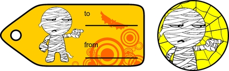 cute chubby little mummy cartoon giftcard sticker expression set in vector format