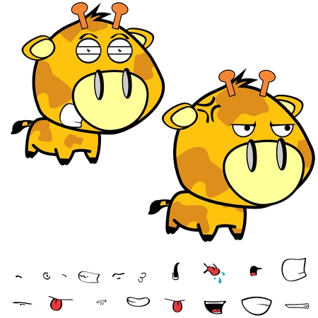 Funny little big head giraffe expressions set in vector format very easy to edit