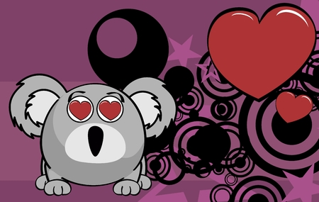 Cute baby ball koala cartoon expression background in vector format