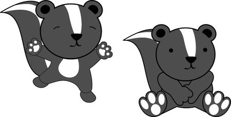 Sweet baby skunk cartoon set in vector format very easy to edit