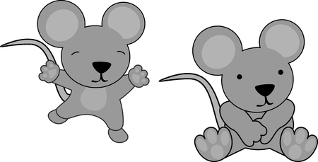 Sweet baby mouse cartoon set in vector format very easy to edit