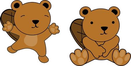 Sweet baby beaver cartoon set in vector format very easy to edit