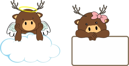 Cute little angel and girl deer baby cartoon copyspace in vector format Illustration