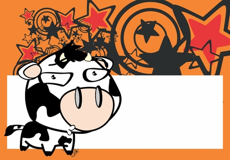 funny little big head cow expression in vector format very easy to edit