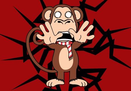 Funny monkey expression cartoon.